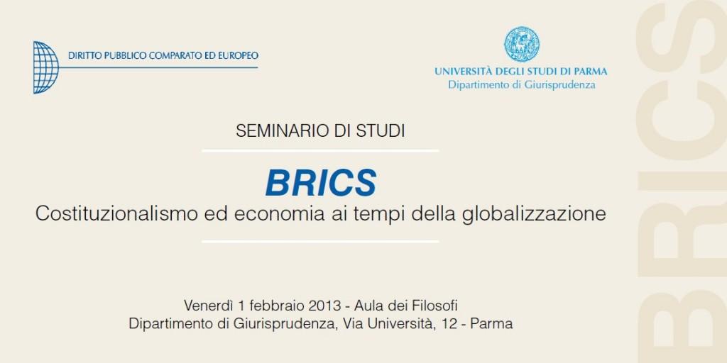 SEMINARIO DI STUDI - BRICS - Costituzionalismo ed economia ai tempi della globalizzazione